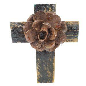 Rustic Wooden Cross Rose Floral Iron Rusty Metal